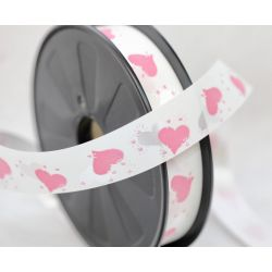 25mm Florist Style Ribbon In White With Pink Hearts X 100m
