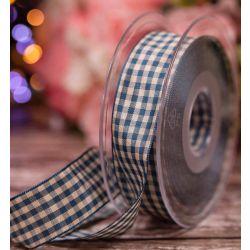 25mm Blue Natural Gingham Ribbon By Berisfords Ribbons