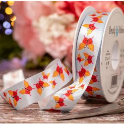 25mm Pale Blue Satin Ribbon With Orange Butterfly Print
