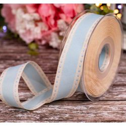 25mm Blue & Ivory Vintage Look Stitched Ribbon
