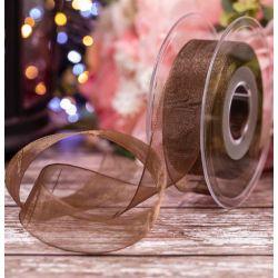 Brown Sheer Ribbons | Organza Ribbons 25mm x 25m By Berisfords Ribbons col: 0025