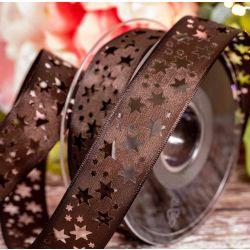 25mm x 25m Brown Cut Out Star Ribbon