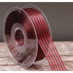 25mm  x 20m Burgundy Striped Mystery Ribbon