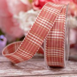25mm Cloudy Pink In Rustic Plaid By Berisfords Ribbons