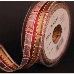 Red and Gold Plaid Sheer Ribbon 25mm x 20m