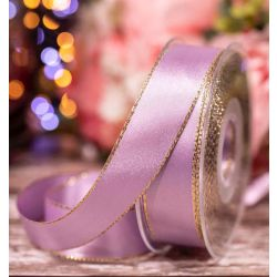 Metallic Gold Edged Orchid (Lilac) Satin Ribbon in  25mm width