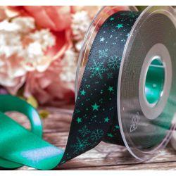 Winter Sky Christmas Ribbon Green 25mm x 25m