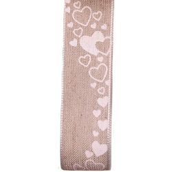 25mm Natural Coloured Linen Ribbon With White Love Heart Design