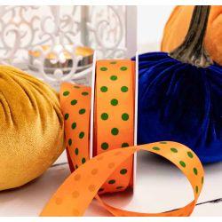25mm Orange & Green Polka Dot Ribbon