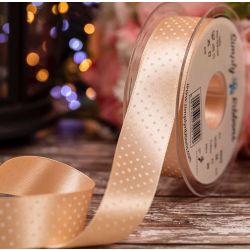 @5mm x 20m Peach Micro Polka Dot Ribbon By Berisfords Ribbons