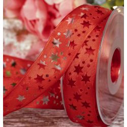 40mm Red Taffeta Ribbon With Star Cut Out Design