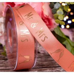 25mm x 20m Rose Gold Satin With Gold Mr & Mrs print