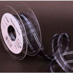 Black and White Summer Check Sheer Ribbon 25mm x 20m