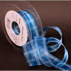 Turquoise and White Wired Summer Check Sheer Ribbon 25mm x 20m