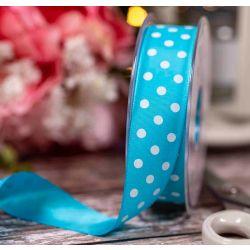 Turquoise Lightweight Taffeta with White Polka Dot  - 25mm x 20m