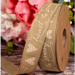 15mm White Heart To Heart Print Ribbon By Berisfords