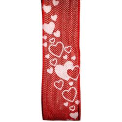 Wired Edged Printed Linen Heart Ribbon In Red 25mm x 15m