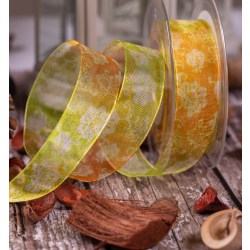25mm Yellow, green & Orange Floral Sheer Ribbon