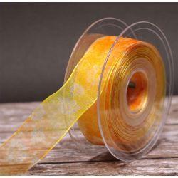 Tendril Sheer Ribbon in Yellow/Orange 25mm x 20m