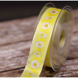 Lemon 25mm Wired Edged Ribbon With Daisy Print 25mm