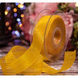 Yellow Sheer Ribbons | Organza Ribbons 25mm x 25m By Berisfords Ribbons col: 679