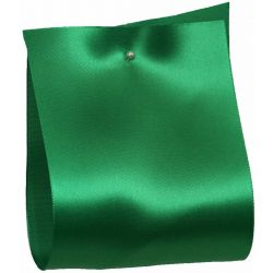 100mm x 50m Single Satin Wide Ribbon  col; Emerald