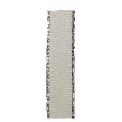 Bridal White Satin Ribbon With Silver Edging 15mm x 20m