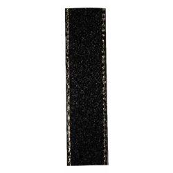 Black Satin Ribbon With Silver Edging 15mm x 20m