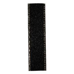 Black Satin Ribbon With Silver Edging 7mm x 20m