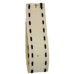 Stitched Grosgrain Ribbon Article 1339 Col: Ivory / Black