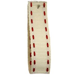 Stitched Grosgrain Ribbon Article 1339 Col: Ivory / Red 15mm