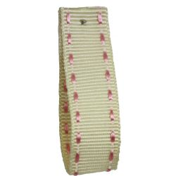Stitched Grosgrain Ribbon Article 1339 Col: Ivory / Pink 15mm