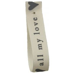 Natural & Grey All My Love Ribbon By Berisfords 15mm x 20m