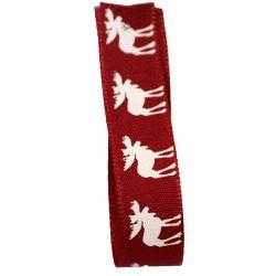 Moose Christmas Ribbon 15mm x 20m Col: Red