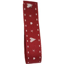Hearts & Kisses Ribbon 15mm x 20m article 13592 Red