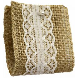Woven Hessian Ribbon With Ivory Lace Centre 50mm x 4.75m