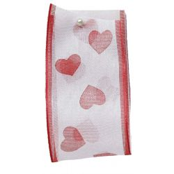 White Sheer Ribbon With Hearts 40mm x 25m