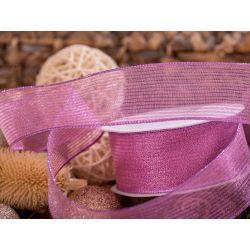 Pink Wired Metallic Mesh Ribbon 38mm x 10m
