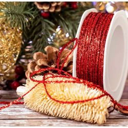 3mm red Christmas glitter ribbon