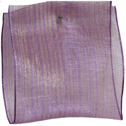 63mm x 10m Lilac Sheer Ribbon With Pin Stripes