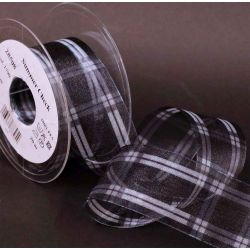 Black and White Wired Summer Check Sheer Ribbon 16mm x 20m