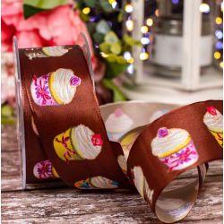 40m Chocolate Wired Edged Taffeta Ribbon With Cupcake Design