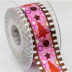 40mm Christmas Tree Ribbon in Pink