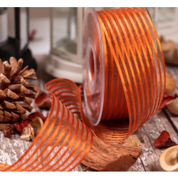 40mm Burnt orange Satin and Sheer Stripe Ribbon