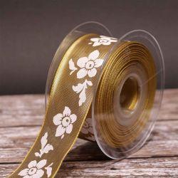 Shiny Flowers Gold Metallic Style Ribbon 40mm x 20m