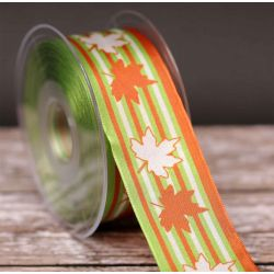 Maple Twins Ribbon in Green and Red 40mm x 20m