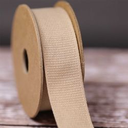 Hopsack Ribbon in Oatmeal - 25mm x 3m