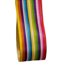 40mm Taffeta Ribbon In Multi Coloured Stripes