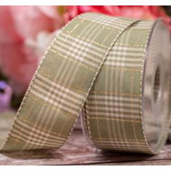 40mm Rustic Plaid Ribbon In Misty Green By Berisfords Ribbons