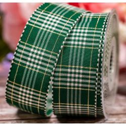 40mm Rustic Plaid Ribbon In Green